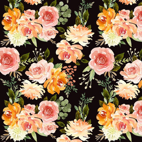 "12"" Fall Floral Blossoms // Black"