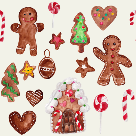 "8"" Gingerbread Christmas // Spring Wood fabric by hipkiddesigns on Spoonflower - custom fabric"
