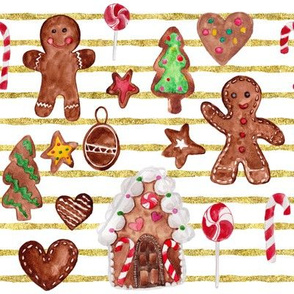 """8"""" Gingerbread Christmas  // Gold and White Stripes"""