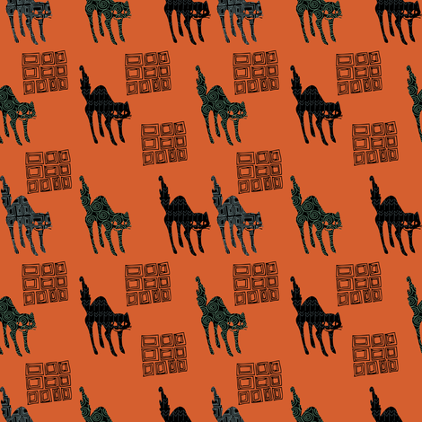Halloween Creepy Cats fabric by lady_bruniere on Spoonflower - custom fabric