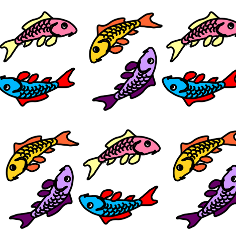 Abstract Colorful Carp fabric by combatfish on Spoonflower - custom fabric