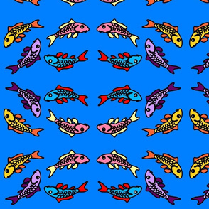 Abstract Colorful Carp on Blue