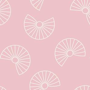 Shells, cream on pale pink