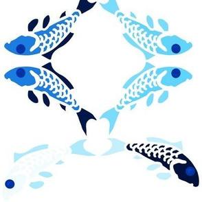 Abstract blue carp flower