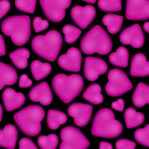 hot pink fuchsia pebble hearts