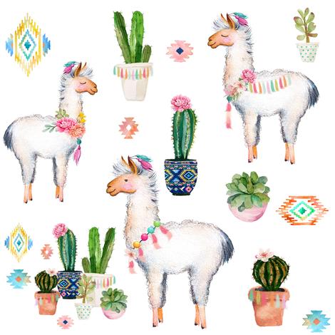 "8"" 2018 Aztec Llama fabric by shopcabin on Spoonflower - custom fabric"