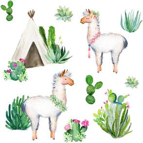 """18"""" 2018 Floral Aztec Llama"""
