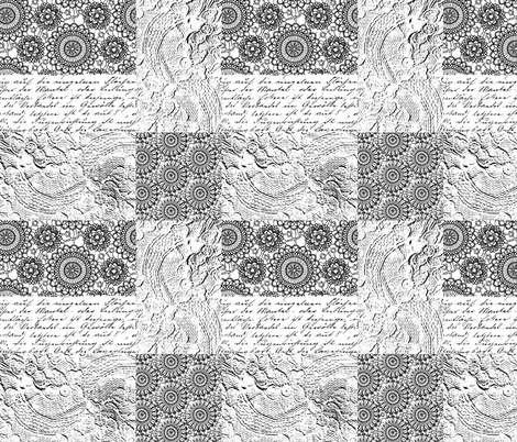 Black and white vintage romance fabric by andrea_haase_design on Spoonflower - custom fabric