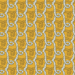 Nautical Rope Gold White on Gold