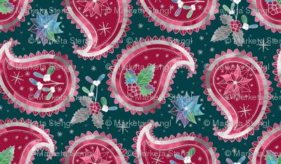 Christmas Paisley Teal / Small Scale