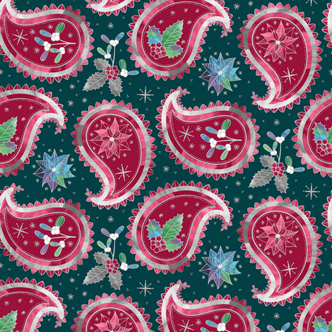 Christmas Paisley Teal / Small Scale fabric by marketa_stengl on Spoonflower - custom fabric