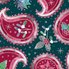 Christmas Paisley Teal