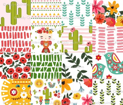 """8"""" KITTY KAHLO WHOLECLOTH"""