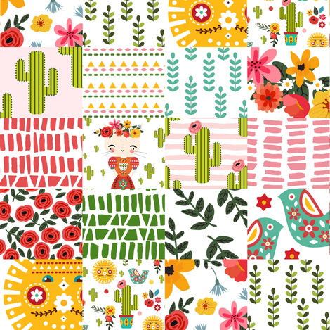 """8"""" KITTY KAHLO WHOLECLOTH fabric by shopcabin on Spoonflower - custom fabric"""