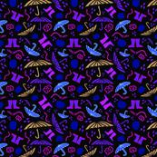 Dark Rain Seamless Pattern with earthworm