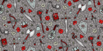 RPG Quest Small in Silver & Red