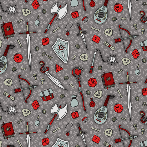 RPG Quest Small in Silver & Red fabric by moonpuff on Spoonflower - custom fabric