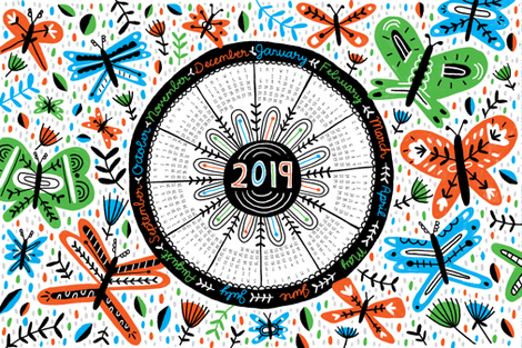 2019 Tea Towel Calendar fabric by mandakay on Spoonflower - custom fabric