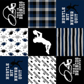 Hustle Hit Never Quilt//Navy, Black//Broncos - wholecloth Cheater Quilt - Rotated