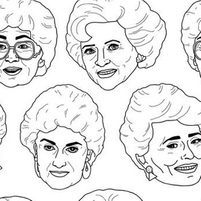 Golden Girls Illustration in Black + white