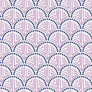 Hand Drawn Scallop in Navy and Magenta
