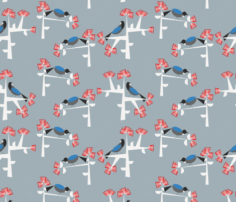 Tui &  Pohutukawa  fabric by meredith_watson on Spoonflower - custom fabric