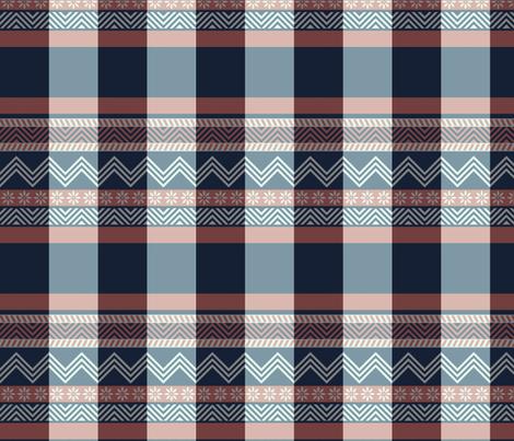 Ornamental zigzag stripe -  stripe - herringbone pattern - navy, coral and white fabric by weavingmajor on Spoonflower - custom fabric