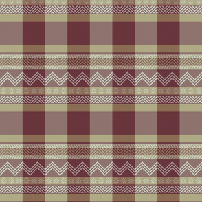 Ornamental zigzag stripe -  stripe - herringbone pattern - burgundy, cream and tan