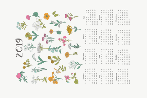 2019 wildflowers calendar - wildflowers, florals, floral, flower, calendar, tea towel calendar fabric by andrea_lauren on Spoonflower - custom fabric