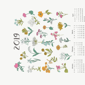 2019 wildflowers calendar - wildflowers, florals, floral, flower, calendar, tea towel calendar