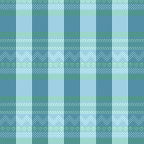 Ornamental zigzag stripe in soft aqua