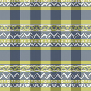 Ornamental zigzag stripe -  stripe - herringbone pattern - navy, wasabi and white