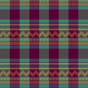Ornamental zigzag stripe -  stripe - herringbone pattern - Tyrian purple, teal, yellow, brown