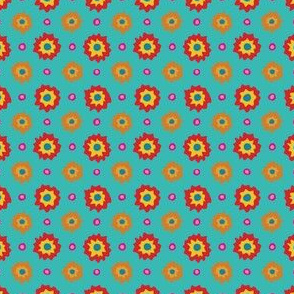 Dizzy Dots and Flowers on turquoise