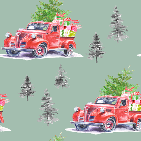 "8"" Christmas Road Trip with Tree and Presents // Summer Green fabric by hipkiddesigns on Spoonflower - custom fabric"