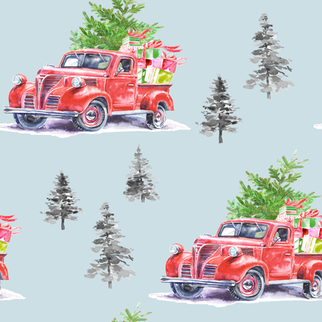 "8"" Christmas Road Trip with Tree and Presents // Igloo Blue fabric by hipkiddesigns on Spoonflower - custom fabric"