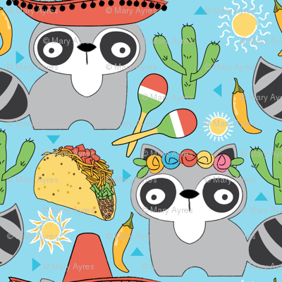 mexican raccoons on blue