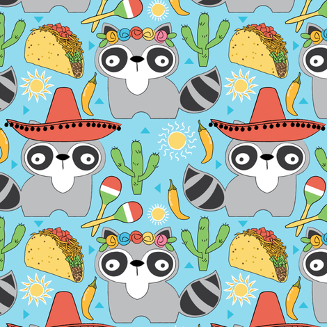mexican raccoons on blue fabric by lilcubby on Spoonflower - custom fabric