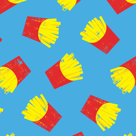 fries on blue - French fries fabric by littlearrowdesign on Spoonflower - custom fabric