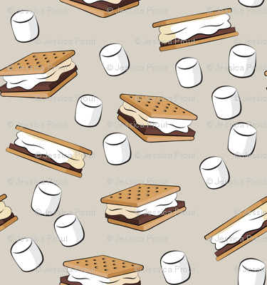 """(1.5"""" scale) s'mores with marshmallows on beige C18BS"""