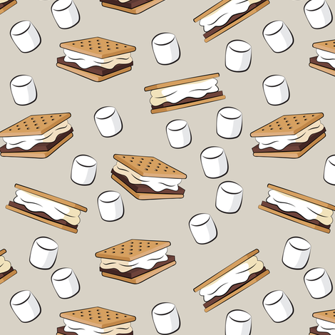 """(1.5"""" scale) s'mores with marshmallows on beige C18BS fabric by littlearrowdesign on Spoonflower - custom fabric"""
