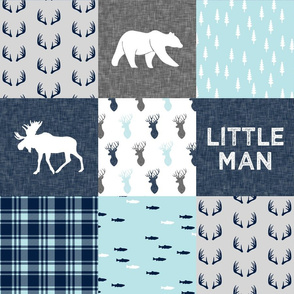 Little Man - woodland moose bear fishing patchwork fabric (baby blue)