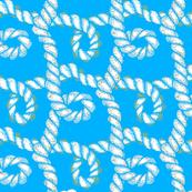 Nautical Rope White on Blue