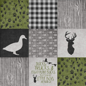 Ducks & Trucks//Green//Black - Wholecloth Cheater Quilt
