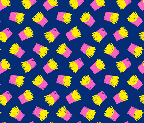 fries (pink on blue) - French fries fabric by littlearrowdesign on Spoonflower - custom fabric