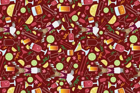 Cariboutender's Bar Wine Red fabric by ksharpstudio on Spoonflower - custom fabric