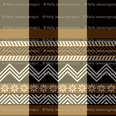 Ornamental zigzag stripe -  stripe - herringbone pattern - brown, black, cream and white