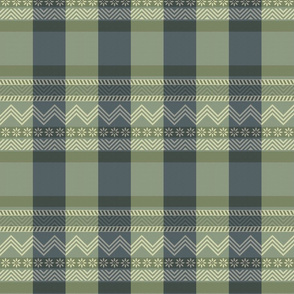 Ornamental zigzag stripe - herringbone pattern - navy, olive, sage and cream