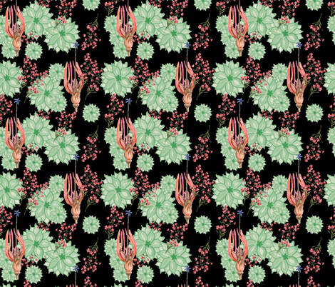 Hanging Garden in green, pink and orange fabric by henry_&_florence on Spoonflower - custom fabric
