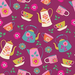 Purple Garden Tea Party Pattern